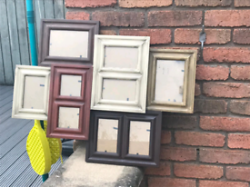 9 different coloured blank photo frames