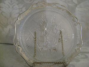 Depression Glass Iris Dinner Plate Silver Overlay