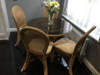 Glass and rattan style Dining Table