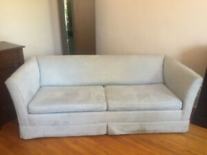 Light blue Pull-out sofa bed couch. 6feet 7inches.