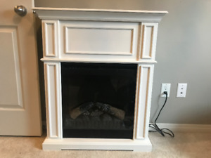 Gorgeous White Mantle Fireplace with heat!!