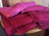 Five Burgundy Towels