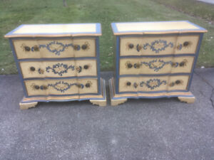 Tole Painted Chests of Drawers