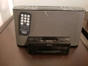 Sony Clock - Radio- IPod - Black with remote control