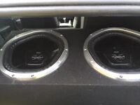 "Sony xplode subs 12"" x2 enclosure + alpine amp"