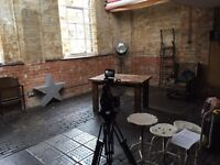 East London industrial space for filming and photoshoot