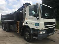 2008 08 DAF CF 75.310 euro5 6x4 thompson tipper HMF 1144 crane and grab