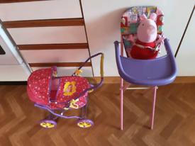 Peppa pig pram ,Peppa & highchair