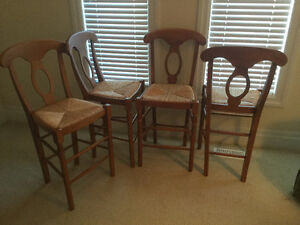 Set of 4 Solid Maple Counter Stools with Rush Seats