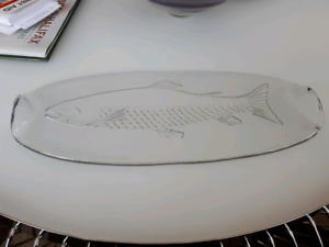 Glass etched fish large oval platter/serving plate-$10