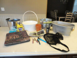15 Assorted Gardening Items- Pails, Trimmers, Bulb Planter &More