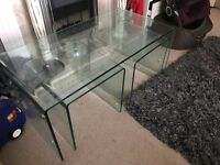 Nest of 3 curved glass coffee tables