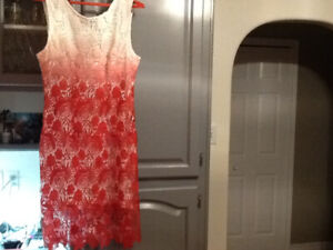 VALENTINE OR CRUISE RED LACE OVER WHITE DRESS NEW LG