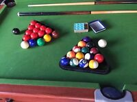 POOL AND SNOOKER TABLE 6FT X 3FT (folds into standing position for storage)