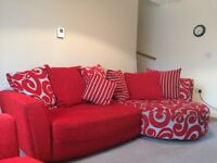 Two stylish sofas plus foot stand//poofy