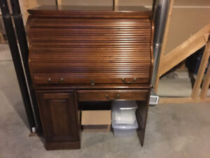 Antiqued style roll top computer desk