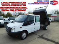2.2TDCI FORD TRANSIT T350 DOUBLE CAB TIPPER WITH REAR SEATS REMOVED (STORAGE)
