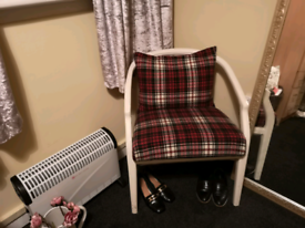 Vintage Retro Armchair Bedroom Chair Tartan  White Captain Style