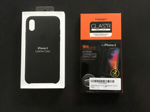 iPhone X leather Case neuf & glass screen protector