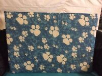 Medium dog bed blue paws