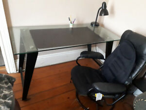Great Glass Desk with Reclining Desk Chair for a deal!