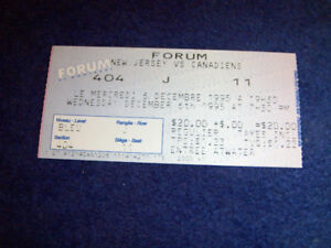 1995 TICKET STUB-NEW JERSEY VS. CANADIENS-HOCKEY-FORUM DE MTL.