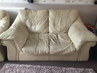 Cream leather 2 seater sofa and x2 chairs