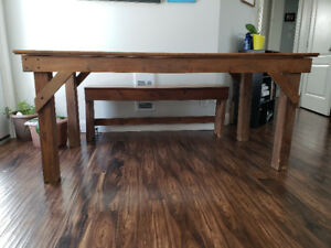 Table, chairs and bench