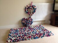 Rag rug with matching heart cushion and door hanger
