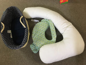 Wicker baby basket, pregnancy pillow and nursing pillow $60.00