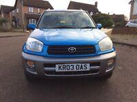 Toyota RAV4 2.0 VVTI 4X4 4WD 2003 12 Months MOT