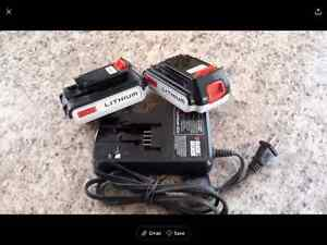 2 Black and Decker lithium batteries and charger