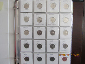 Set of 68 circulated coins - Canadian 5 cents - years 1940-2016