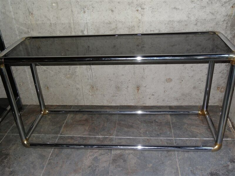 1960s 1970s MCM Mid Century Chrome & Smoke Glass Console Table