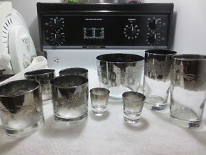 Vintage  Embossed Silver Fade Ice Bucket and Glasses