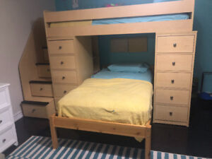 Space saver loft bed with lots of storage.