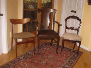 3 Unique Antique / Vintage Chairs, Mahogany, Oak, Teak