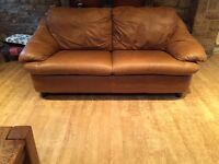 Tan Brown Leather 2 / 3 Seater Sofa Delivery Possible