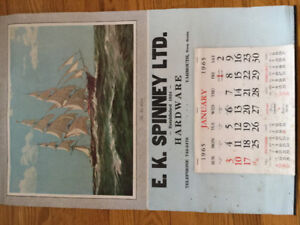 collectible calander from 1965