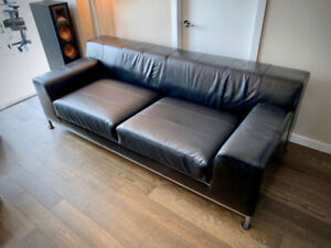 Premium Faux Leather Couch Full Length Steel Frame Black