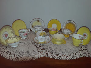 8 Collectible vintage teacups, cheerful yellow tones