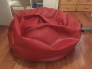 Leather Red Beanbag