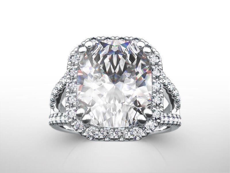 4 Carats Halo Set Diamond Ring 14k White Gold 8 Prong Si2 Size 4.5 6 7.5 9