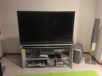 Sony TV, stand and speakers