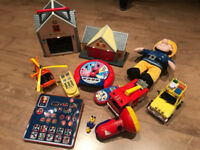 Fireman Sam job lot of toys 2 games, vehicles, station, cuddly toy etc