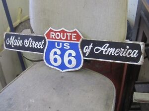 DECORATIVE ROUTE 66 MAIN ST. of AMERICA TIN SIGN $30.00 MANCAVE