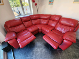 Red leather corner sofa for Sale | Sofas, Couches ...