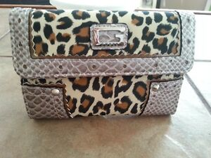 Guess leopard print wallet for sale