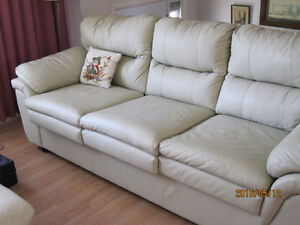 Leather sofa, chair and ottoman