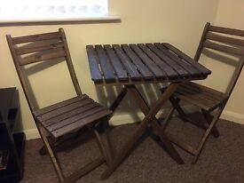 Wooden Garden Table & Deck Chairs set